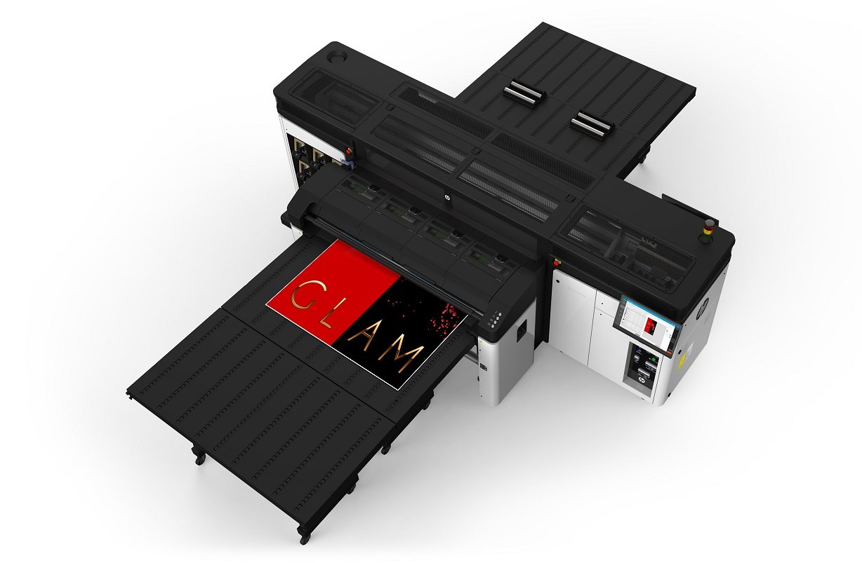 hp r1000 printer lateral overhead view extended tables1